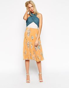 Image 4 of ASOS Color Block Floral Pleated Midi Dress