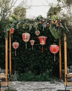This Couple's Multi-Cultural Wedding in Downtown Los Angeles Was Packed with Surprises colleen pip wedding ceremony arch lanterns. Chinese Lanterns Wedding, Vintage Chinese Lanterns, Chinese Wedding Decor, Oriental Wedding, Wedding Lanterns, Lanterns Decor, Chinese Wedding Tea Ceremony, Traditional Chinese Wedding, Traditional Weddings