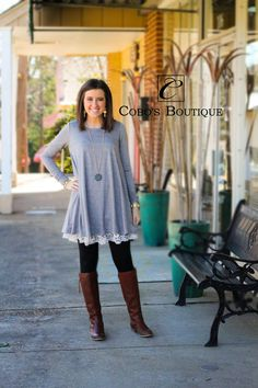 BASICALLY ME!! We love this gorgeous lace bottom dress! So cute and comfortable!  Call 601.591.4111 to order! We are open until 7pm!