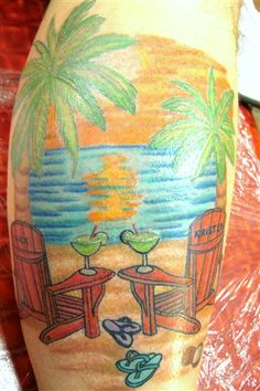 Thinking drinks and flip flops Beach Theme Tattoos, Beachy Tattoos, Seashell Tattoos, Sunset Tattoos, Bff Tattoos, Cute Tattoos, Bracelet Tattoos, Tropical Flower Tattoos, Sunflower Tattoos