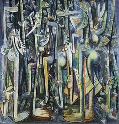 Wilfredo Lam, The Jungle, 1943, gouache on paper mounted on canvas, 94-1/4 x 90-1/2 inches / 239.4 x 229.9 cm (The Museum of Modern Art)