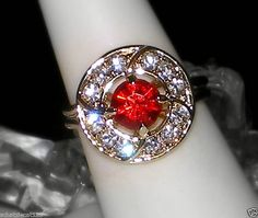 Idk why but I just love this! Old Jewelry, Vintage Jewelry, Old Hollywood Glam, Crystal Rhinestone, Crystal Ring, Austrian Crystal, Ruby Red, Art Deco Fashion, Valentine Day Gifts