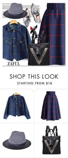 """Button Up Cropped Denim Jacket"" by aida-nurkovic ❤ liked on Polyvore featuring Chicwish and Loeffler Randall"