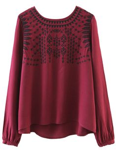 Ethnic Embroidered Blouse - RED S
