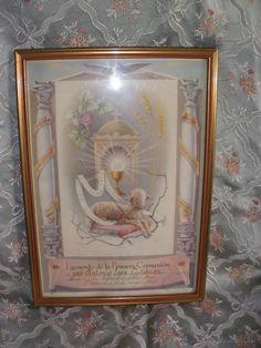 Recuerdo Primera Comunión Plasencia Santa Ana,cromo litografía de los años 50 con el Cordero Pascual