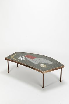 Berthold Müller; Brass, Wood and Glass Mosaic Coffee Table, 1950s.