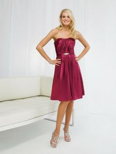 Charmeuse Strapless Starburst Pleated Bodice A-line Bridesmaids Dress