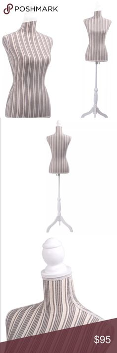 """New Female Mannequin Striped Body Form Description: Brand New And High Quality Display your clothes to view potential outfits      Ideal For Sweaters, T-Shirts, Jackets, Dresses, Blouses, Tops And Accessories Help Customers See Your Products In Use  Specification:  Color: Taupe Striped  Material: Canvas + Styrofoam + Pine Wood Product Dimensions: Chest (34"""") x Shoulders (15"""") x Waist (27"""") x Hips (35.4"""") x Neck (12.5"""") x Height (56"""" – 67"""") x Leg stands (10.5"""") Weight: 7 lbs The height can…"""