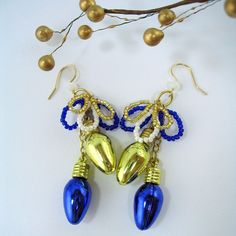 Christmas Earrings in Gold and Deep Blue. $17.00, via Etsy.