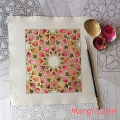 """460 Likes, 15 Comments - Margi Lake (@margi_lake) on Instagram: """"Trying out an autumnal palette on khadi paper for an interlaced pattern from the Alhambra with…"""""""