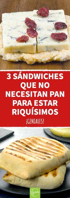 3 sándwiches que no necesitan pan para estar riquísimos #sandwich #sandwichsinpan #sinpan #pandepapa #pandecoliflor #recetas #recetasdesandwiches #coliflor #arandano #queso #papa Wrap Sandwiches, Tostadas, Sin Gluten, Fett, Hot Dog Buns, Finger Foods, Nom Nom, Good Food, Food And Drink
