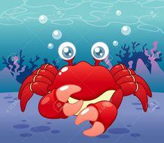 Ilustración de dibujos animados: Un Cangrejo en el fondo del mar.