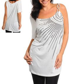 Plus size cute Sequins Top in Ivory