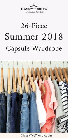 My Summer 2018 Capsule Wardrobe – see all the clothes and shoes in my closet with tops such as a tee, blouse, striped top, flutter sleeve top, shorts and skirts.  This wardrobe makes it easy to have travel vacation outfit ideas you can pack in a suitcase and have dozens of outfits.