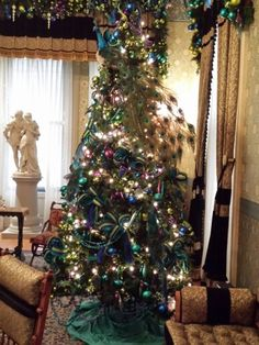 Victorian peacock Christmas decorations at The Glenview Mansion at The Hudson River Museum, Yonkers, NY