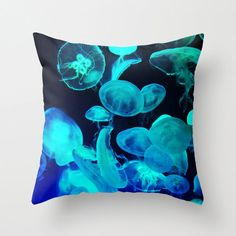 Pillow Cover, Blue Moon Jellyfish, Tropical Throw Pillow, Pink Neon Lights Black Couch Bed Living Home Interior Accent, 16x16 18x18 20x20