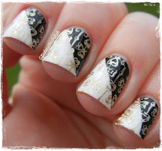 A Girl and Her Polish: Digit-al Dozen Does: Tape Manis - Black and White