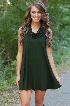 Flared Shape Trendy Cowl Neck Hunter Green Dress