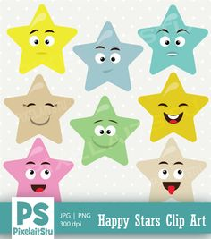 Happy Cute Stars Vector Clip Art Graphics This listing is for Stars Smiley Set Vector Graphics Clip art. This clip art features 8 set of Smile by PixelaitStu Eps Vector, Vector Graphics, Cute Stars, Craft Items, Botanical Illustration, Handmade Crafts, Smiley, Printing On Fabric, Activities For Kids