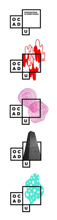 Bruce Mau Design. OCAD University Visual Identity. I think this is a great logo. The concept behind it is a logo that is a blank canvas. The work of students can be featured in it as well as other themes. It is very graphic, the type is used to complement that geometry.