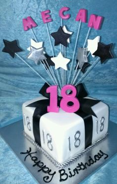 18th Birthday Cakelike This With Blue Letters And Numbers For Boys