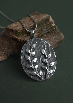 Sterling silver pendant with tiny branches by Anastasia Sobkevich