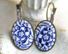 Earrings – Etsy could try with white polymer and paint with blue and wipe off????