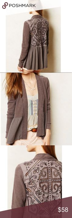 Anthropologie Saturday Sunday Storystitch Cardigan Anthropologie Storystitch Embroidered Back Cardigan in Taupe. Grayish Open Cardigan with beautiful window embroidery on the back. This thoughtful, swingy, ruffled cardigan is a must for your wardrobe! Excellent customer. Size small. Anthropologie Sweaters