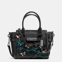 COACH Butterfly Appliqué Coach Swagger 21 in Glovetanned Leather