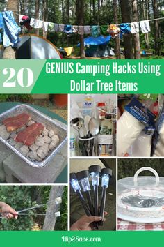 Going camping soon? Hit Dollar Tree for budget-friendly items to make your trip fun and frugal! Do you love to go camping? Try these 20 Dollar Tree camping hacks. They will save you money and make your camping life easier. Diy Camping, Camping Ideas, Camping Hacks With Kids, Zelt Camping, Tree Camping, Camping Snacks, Camping Glamping, Camping Supplies, Family Camping