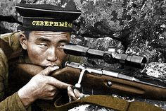 Soviet sniper Radna Ayusheev of the 63rd Marine Infantry Brigade
