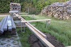 Holzlager 2 bauen | vesab.de Wood, Firewood Shed, Wood Shed, Wood Store, Log Home, Outdoor, Woodwind Instrument, Timber Wood, Trees