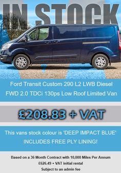 Ford Transit Custom 290 L2 LWB Diesel FWD 2.0 TDCi 130ps Low Roof Limited Van