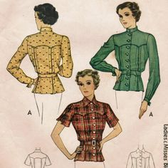 Vintage 1936 McCall 9039 Sewing Pattern Misses' Blouse Size 14 Bust 32