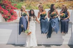 Beautiful in Blue: Navy Maxy Dresses make quite a statement at this Malibu Beach Wedding