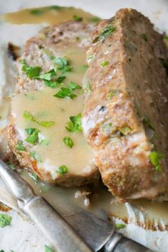 """1770 House"" Meatloaf with a mellow roasted garlic gravy l (Adapted from Ina Garten's recipe for the Southhampton favorite. Here, with beef and pork but not the veal.)"