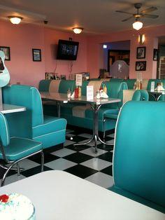 Artificial Light - Standard lighting for a nice diner -typical 50's corner café...