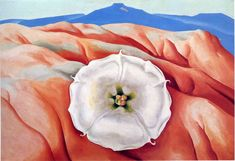 Red hills and white flower. Georgia O'Keeffe.