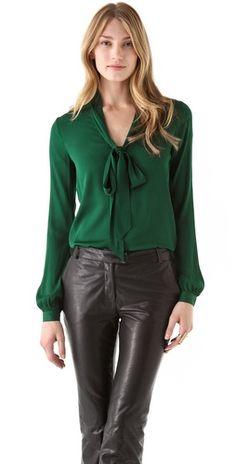 Rachel Zoe Nathalie Scarf Collar Top...Gorgeous Hunter Green blouse