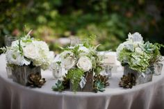 Roses, ferns, succulents. Would love to see this with a little more color (blush/peach). Rustic Ivory and Succulent Wedding