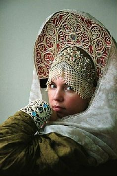 This kokoshnik is a festive headdress of a young  married woman from Nizhny Novgorod Province, Russia.