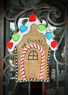 Personalized Gingerbread House  Burlap Door by CamaleeKateStudio, $30.00