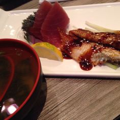 Tuna, eel and miso soup at Billings best sushi spot. Fancy Sushi. 4/25/16