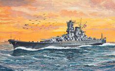 ship on ocean painting Navy Wallpaper, Wallpaper Pictures, Marinha Wallpaper, World Of Warships Wallpaper, Poder Naval, Yamato Battleship, Military Drawings, Imperial Japanese Navy, Spaceship Art