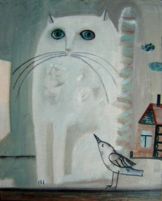 Tatiana Gorshunova - Cat with bird, 2006