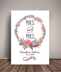 Weiteres - 'Mrs & Mrs' HOCHZEITSTAG KUNSTDRUCK persona... - ein Designerstück von wandzucker bei DaWanda