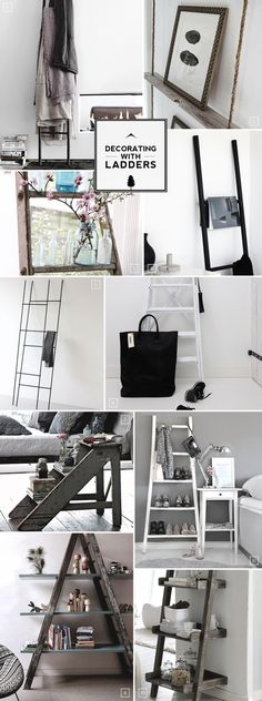 Creative ideas for decorating your home with ladders. From a bathroom towel hanger to a bedroom side table.