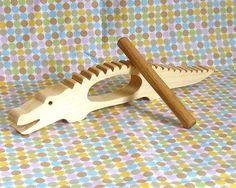 Instrument de Percussion d'alligator, jouets en bois naturels, organique