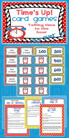 5 Card Games for Telling Time to the Hour Primary Teaching, Teaching Time, Teaching Math, Math Resources, Math Activities, Ks1 Maths, Early Years Maths, Time To The Hour, Third Grade Math