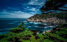 Download wallpapers Point Lobos, Carmel, Ocean, hdr, summer, California, USA